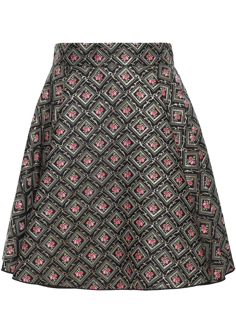 Dolce & Gabbana Woman Flared Metallic Jacquard Mini Skirt Black