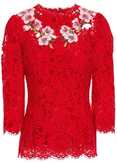Dolce & Gabbana Woman Floral-appliquéd Cotton-blend Corded Lace Top Claret