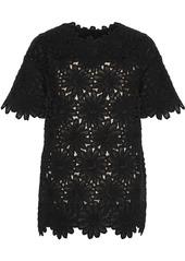 Dolce & Gabbana Woman Floral-appliquéd Cotton-blend Tulle Top Black