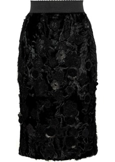 Dolce & Gabbana Woman Floral-appliquéd Embroidered Shearling Pencil Skirt Black