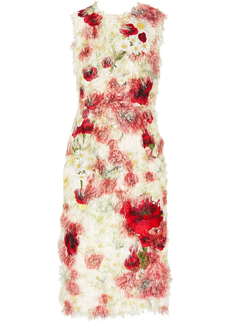 Dolce & Gabbana Woman Floral-appliquéd Fil Coupé Midi Dress Red