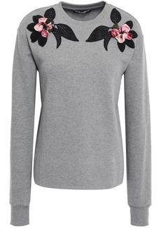 Dolce & Gabbana Woman Floral-appliquéd French Cotton-terry Sweatshirt Gray