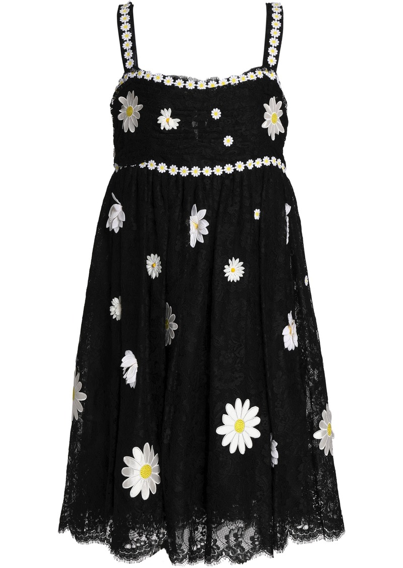 Dolce & Gabbana Woman Floral-appliquéd Gathered Lace Dress Black