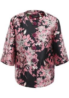 Dolce & Gabbana Woman Floral-appliquéd Metallic Brocade Jacket Black