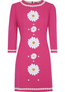 Dolce & Gabbana Woman Floral-appliquéd Wool-crepe Mini Dress Fuchsia