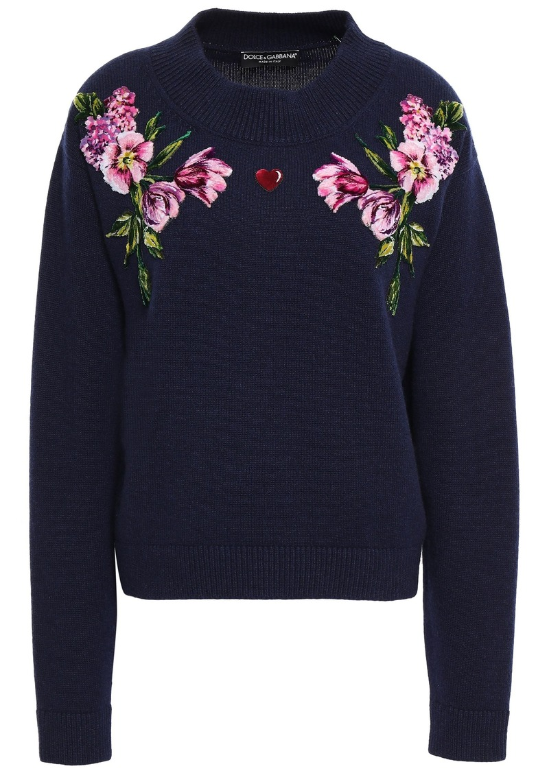 Dolce & Gabbana Woman Floral-appliquéd Wool Sweater Navy