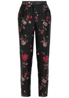 Dolce & Gabbana Woman Floral-jacquard Tapered Pants Black