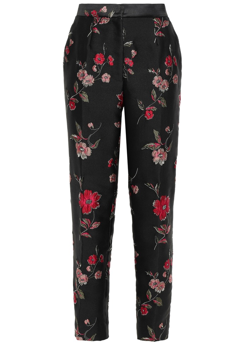 Dolce & Gabbana Woman Floral-jacquard Tapered Pants Black