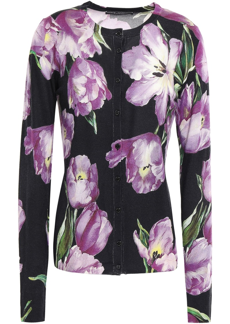 Dolce & Gabbana Woman Floral-print Cashmere And Silk-blend Cardigan Black
