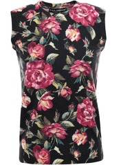 Dolce & Gabbana Woman Floral-print Cashmere Top Black