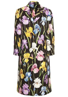 Dolce & Gabbana Woman Floral-print Cotton-blend Jacquard Coat Dark Brown