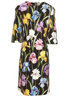 Dolce & Gabbana Woman Floral-print Cotton-blend Jacquard Mini Dress Dark Brown