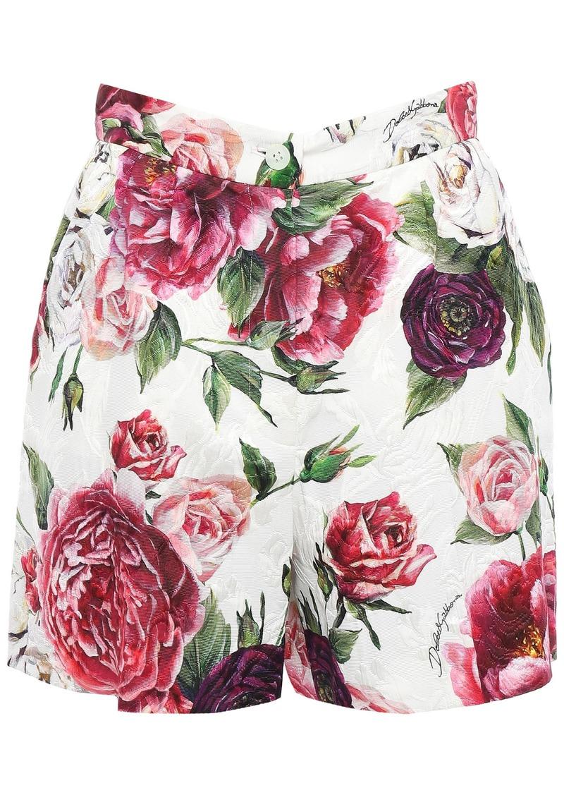 Dolce & Gabbana Woman Floral-print Cotton-blend Matelassé Shorts Ivory