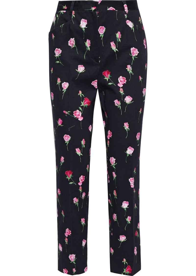 Dolce & Gabbana Woman Floral-print Cotton-blend Twill Straight-leg Pants Navy