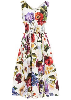 Dolce & Gabbana Woman Shirred Floral-print Cotton-poplin Midi Dress White