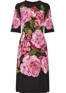 Dolce & Gabbana Woman Floral-print Crepe Dress Black
