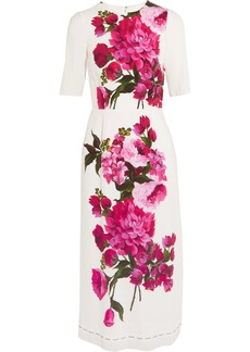 Dolce & Gabbana Woman Floral-print Crepe Dress White