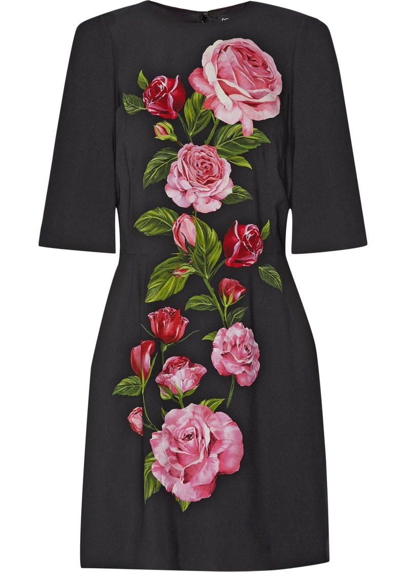 Dolce & Gabbana Woman Floral-print Crepe Mini Dress Black