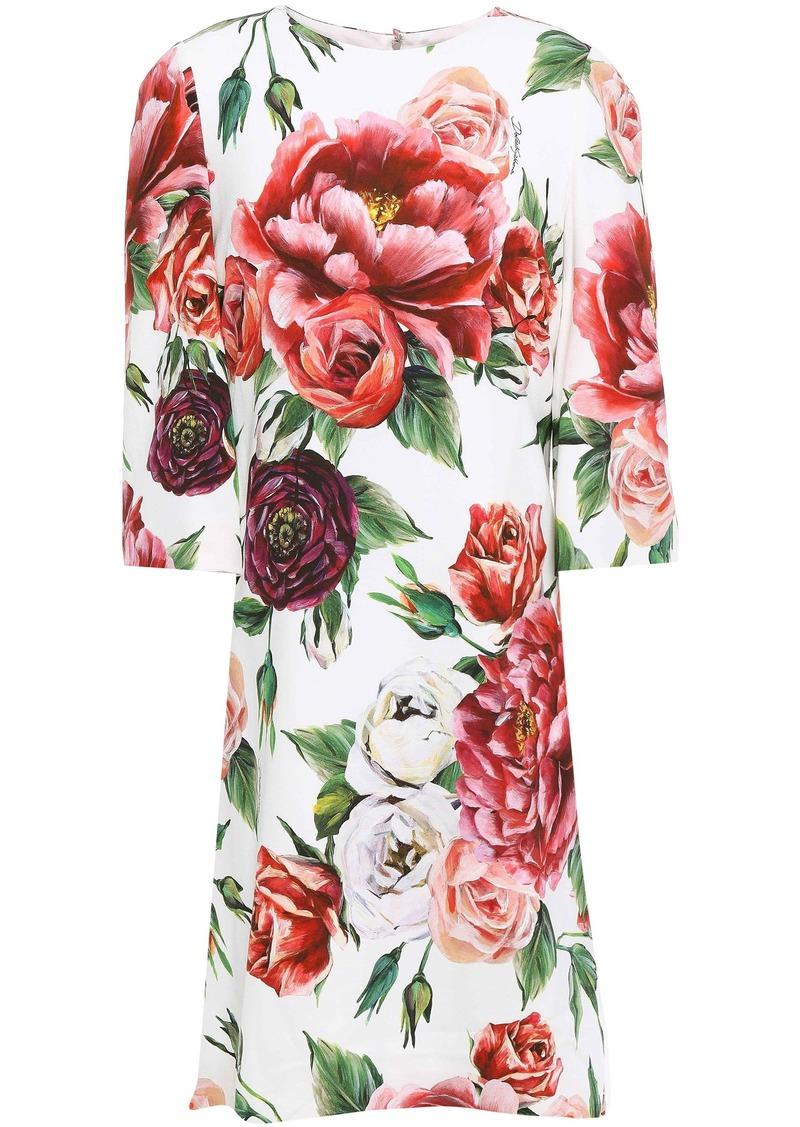 Dolce & Gabbana Woman Floral-print Crepe Mini Dress White