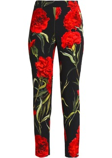 Dolce & Gabbana Woman Floral-print Crepe Skinny Pants Black