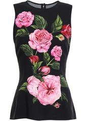 Dolce & Gabbana Woman Floral-print Crepe Top Black