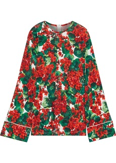 Dolce & Gabbana Woman Floral-print Jersey Top Red