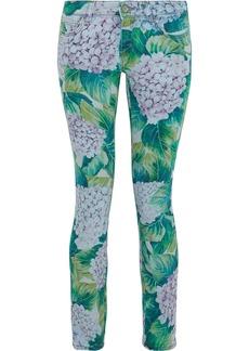 Dolce & Gabbana Woman Floral-print Low-rise Skinny Jeans Leaf Green
