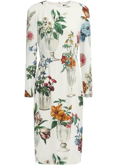 Dolce & Gabbana Woman Floral-print Silk-blend Charmeuse Dress Ivory