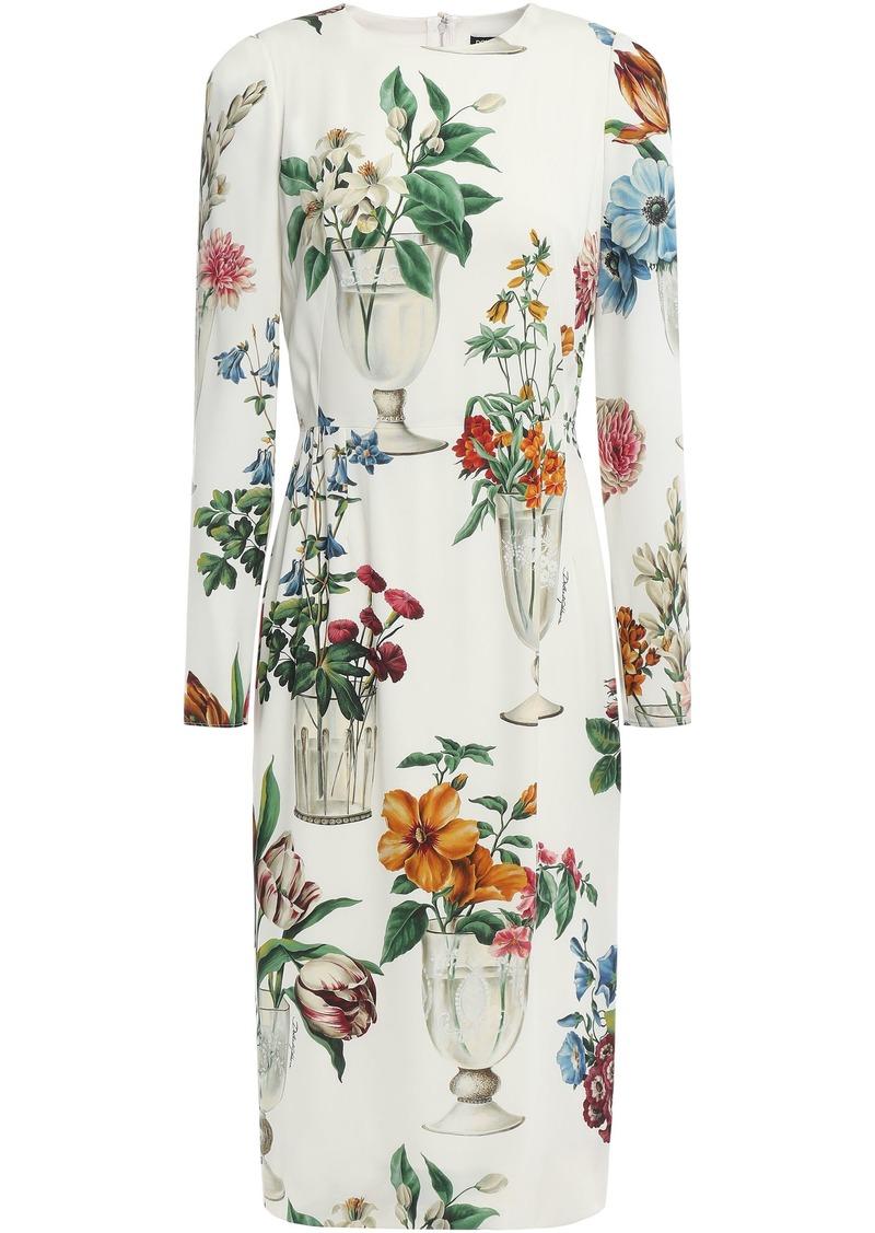 Dolce & Gabbana Woman Floral-print Silk-blend Charmeuse Dress Ivory