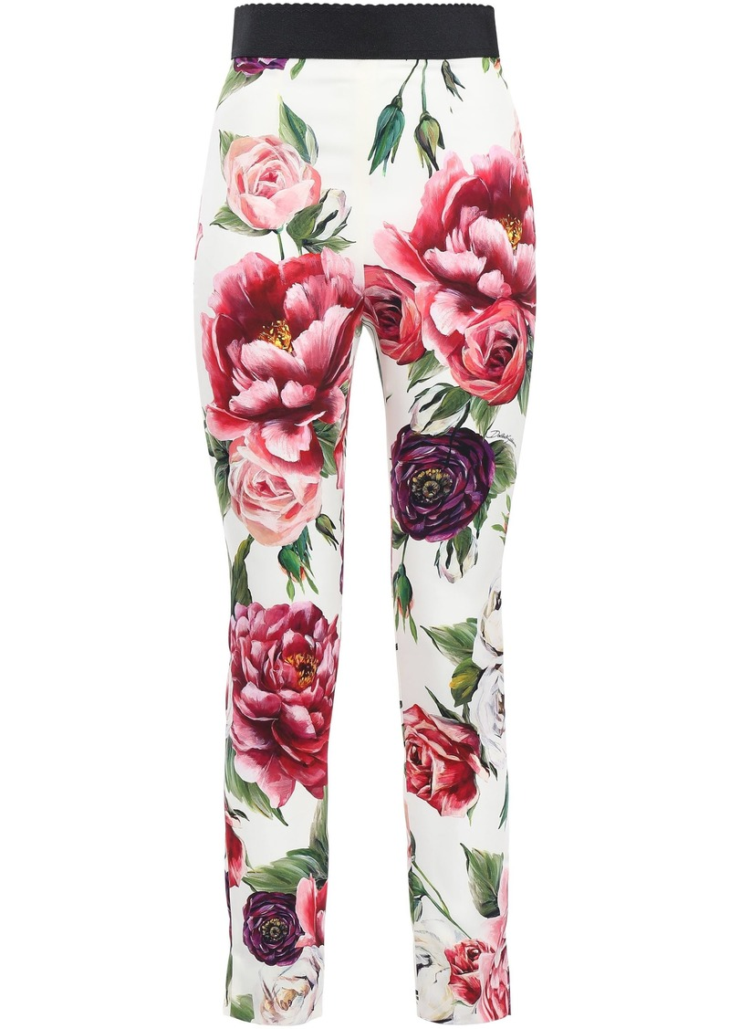 Dolce & Gabbana Woman Floral-print Silk-blend Charmeuse Skinny Pants Ivory