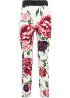 Dolce & Gabbana Woman Floral-print Silk-blend Charmeuse Skinny Pants Ivory