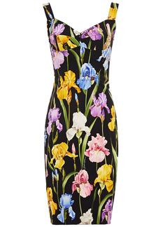 Dolce & Gabbana Woman Floral-print Silk-blend Crepe And Ponte Dress Black