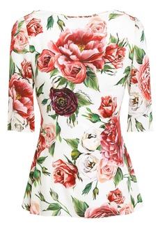 Dolce & Gabbana Woman Floral-print Silk-blend Crepe De Chine Peplum Top Ivory