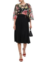 Dolce & Gabbana Woman Floral-print Silk-chiffon Top Black