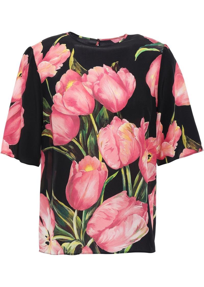 Dolce & Gabbana Woman Floral-print Silk-georgette Blouse Black