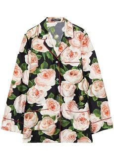 Dolce & Gabbana Woman Floral-print Silk-twill Shirt Black