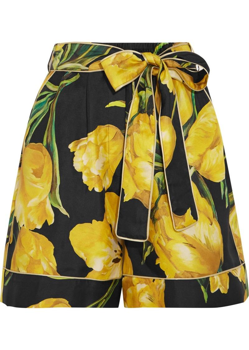 Dolce & Gabbana Woman Floral-print Silk-twill Shorts Yellow