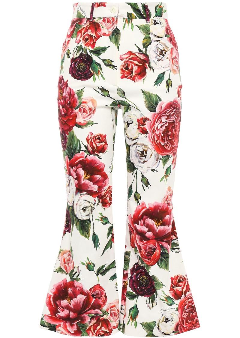 Dolce & Gabbana Woman Floral-print Stretch Cotton-twill Kick-flare Pants Ivory