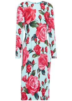 Dolce & Gabbana Woman Floral-print Stretch-crepe Midi Dress Sky Blue