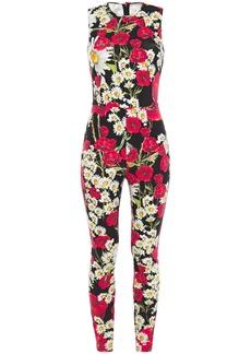 Dolce & Gabbana Woman Floral-print Stretch-jersey Jumpsuit Black