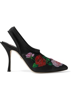 Dolce & Gabbana Woman Floral-print Stretch-knit Slingback Pumps Black