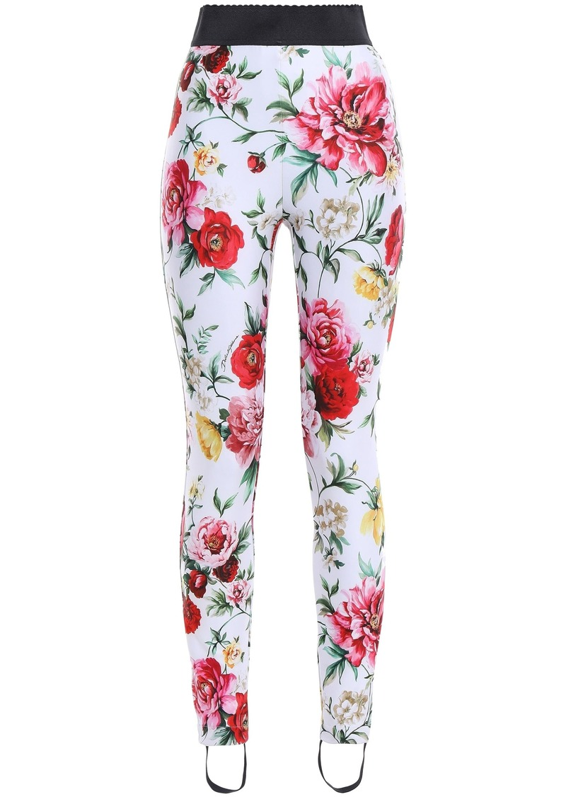 Dolce & Gabbana Woman Floral-print Stretch-knit Stirrup Leggings Ecru