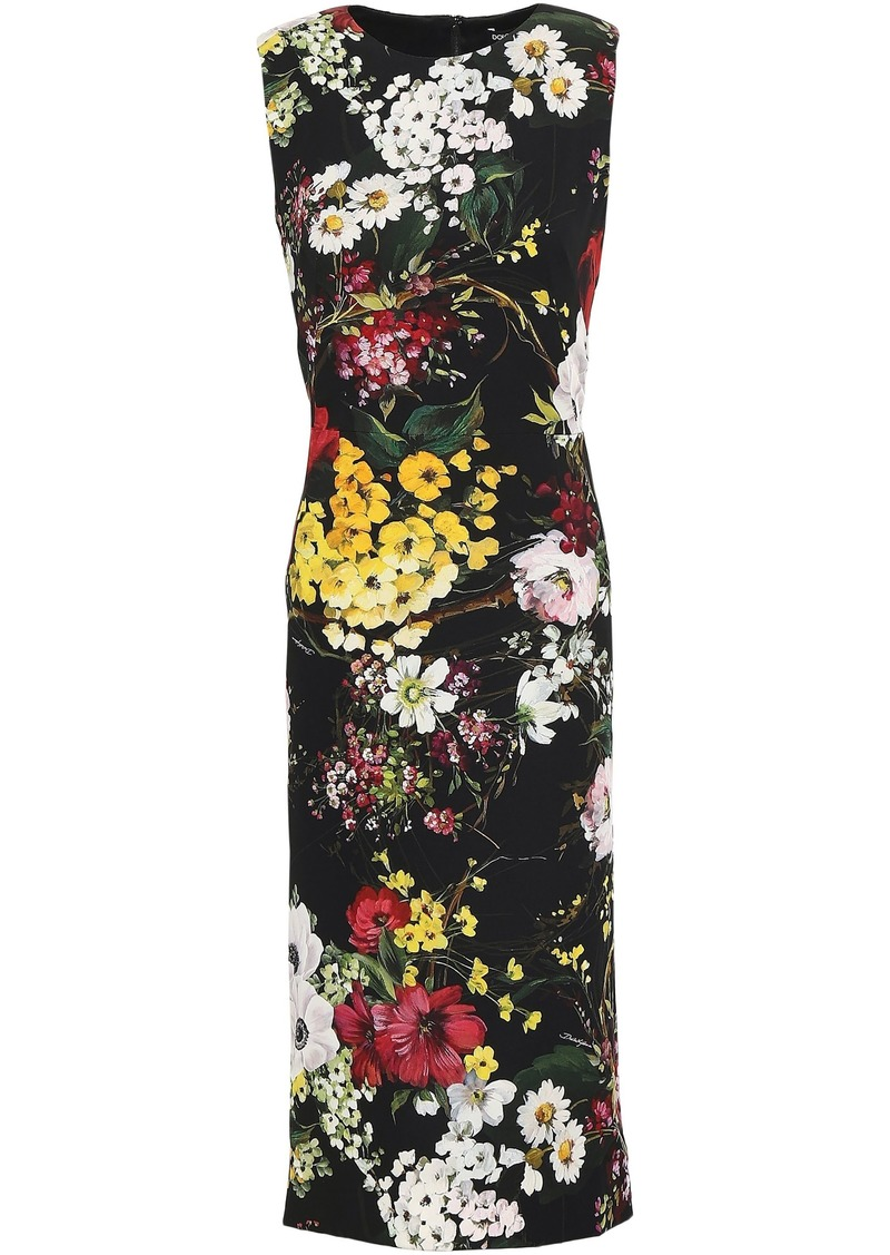 Dolce & Gabbana Woman Floral-print Stretch-silk Dress Black