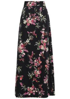 Dolce & Gabbana Woman Floral-print Stretch-silk Maxi Skirt Black
