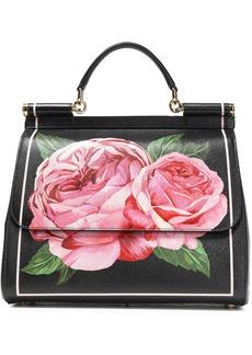 Dolce & Gabbana Woman Floral-print Textured-leather Shoulder Bag Black