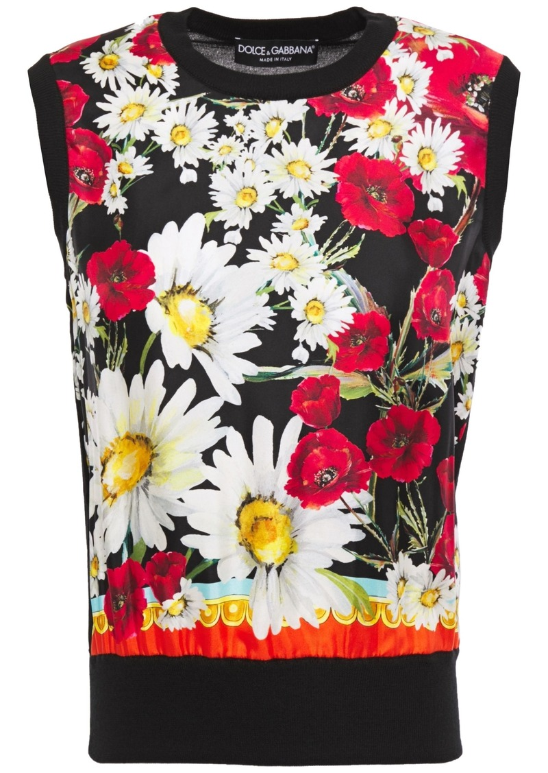 Dolce & Gabbana Woman Floral-print Twill-paneled Silk And Cashmere-blend Top Black