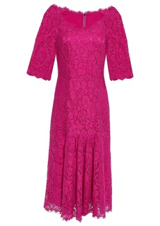 Dolce & Gabbana Woman Fluted Corded Lace Midi Dress Fuchsia