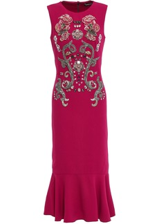 Dolce & Gabbana Woman Fluted Embellished Crepe Midi Dress Magenta