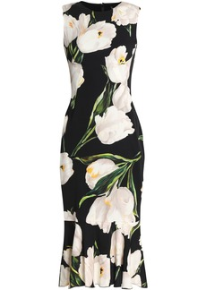 Dolce & Gabbana Woman Fluted Floral-print Stretch-silk Dress Black