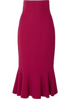 Dolce & Gabbana Woman Fluted Ruffled Cady Midi Skirt Magenta